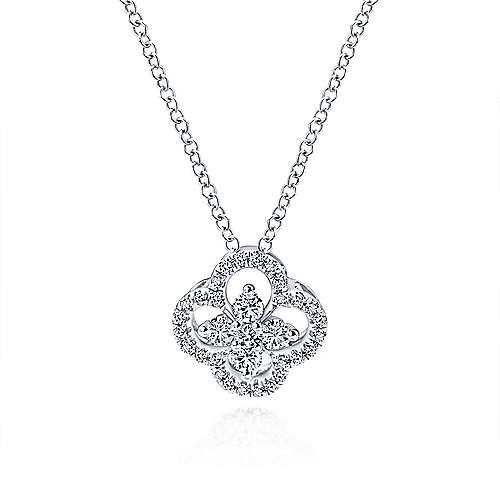 Gabriel-14K-White-Gold-Open-Clover-Diamond-Pendant-Necklace~NK3118W45JJ-1